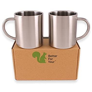 Stainless Steel Double Wall Coffee Mugs / Tea Cups, Set of 2, 13.5oz (400ml) by Better For Your