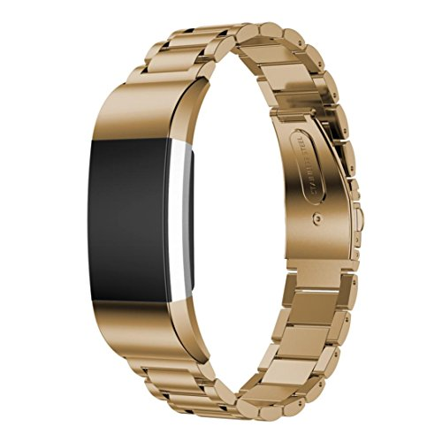 - GBSELL Fashion Genuine Stainless Steel Bracelet Smart Watch Band Strap For Fitbit Charge 2 (Light Gold)