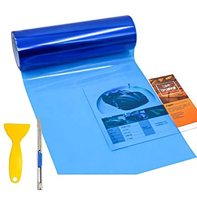 "KOMAS 12"" X 48"" Tint Vinyl Film Sticker Sheet Roll for Car Headlight, Tail Lights, Fog Lights with Squeegee + Cutter (Glossy Dark Blue): Automotive"
