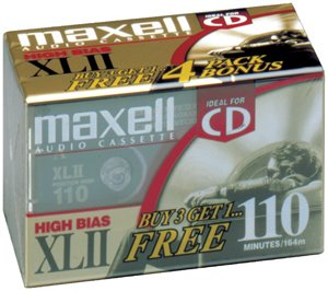 MAXELL XLII 110-minute Audio Cassette Tape (4 Pack) (Discontinued by Manufacturer) by Maxell