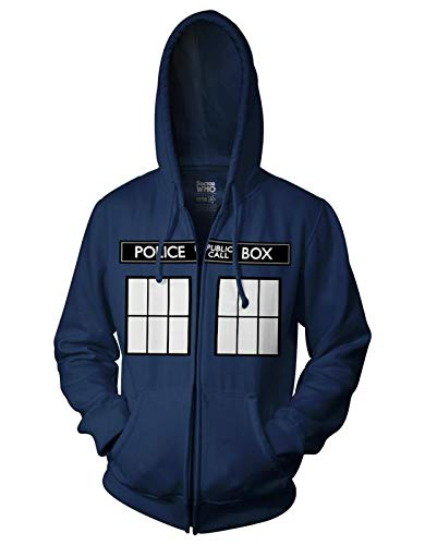 Ripple Junction Doctor Who Call Box Window Adult Zip Hoodie XX-Large Navy