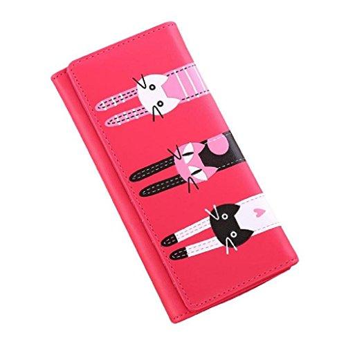 Covermason Frauen Geldbörse Katzen Muster Geldbörse Münze Geldbörse Lange Brieftasche Kartenhalter Handtasche (Schwarz) Hot Pink