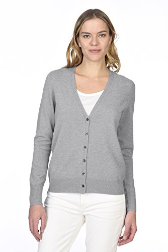 's 100% Pure Cashmere Button Front Long Sleeve V neck Cardigan Sweater, Heather Grey, Medium (Pure Cashmere Cardigan)