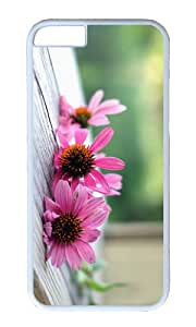 Pink flowers macro wood board PC White Hard Case for Apple iPhone 6(4.7 inch)