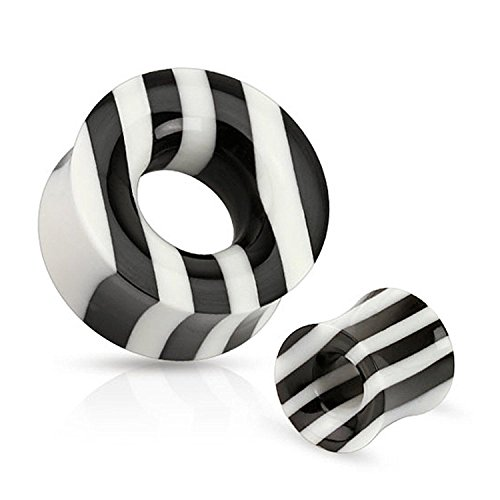 Striped White Horn (Black and White Striped Organic Horn and Bone Saddle Fit Tunnels (Sold as a Pair) (1/2