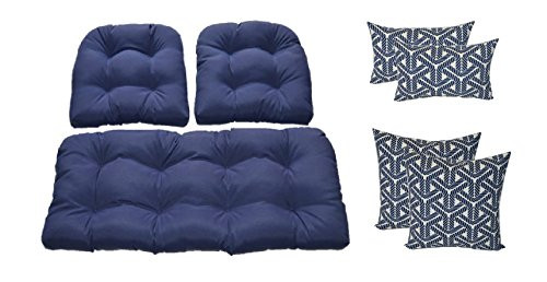 Wicker Cushions and Pillows 7 Pc Set - Solid Navy Blue Cushions and Navy Blue and Ivory Nautical Rope Pillows - Indoor / Outdoor Fabric by Resort Spa Home