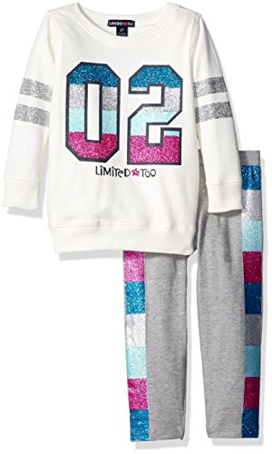 Limited Too Little Girls' Toddler 2 Piece Set Printed Top and Legging Pant, Vanilla, 3T
