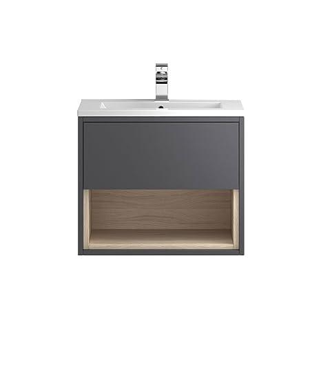 600mm Ggloss Driftwood Wall Mounted Open Shelf Bathroom Basin Vanity