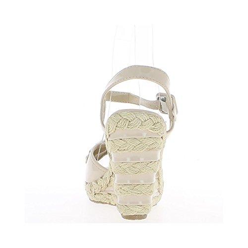 Sandales compensées femme beiges vernies talon de 11cm et plateau