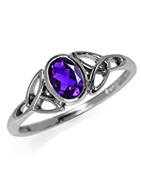 Natural African Amethyst 925 Sterling Silver Triquetra Celtic Knot Ring