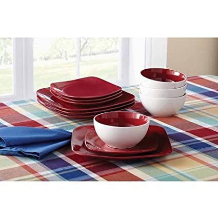 Mainstays 12-Piece Medium Square Dinnerware Set Red Sedona  sc 1 st  Amazon.com & Amazon.com | Mainstays 12-Piece Medium Square Dinnerware Set Red ...