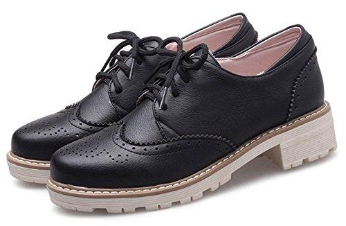 Lace Heel Brogue Shoes Black Low Up Women's Easemax Comfy w6nUEqR