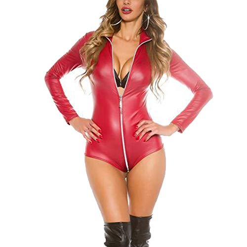 Oliveya Womens Red Steampunk Front Zip up Faux Leather Bodysuit Leotard Teddy XL