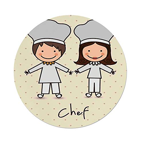 nd Tablecloth,Kitchen Decor,Chef Hat Uniform Kitchware Vintage Style Design Home Cafe Polkadots Kids,Pastel Blue Cream,Dining Room Kitchen Picnic Table Cloth Cover Outdoor in ()
