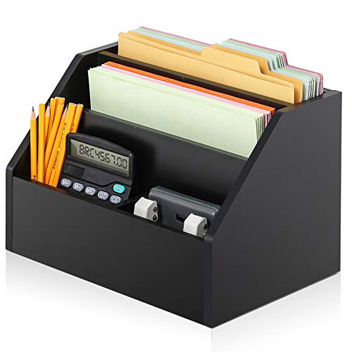 Multi Purpose Desktop Organizer Wood (FITUEYES Wood Desktop Suppies Organizer, 2-Way Usage for Home & Office,File Holder with Letter Tray,Black,TR103501WB)