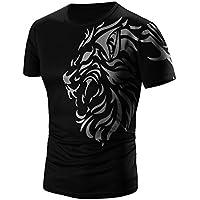FUNIC T-Shirt, Men Summer Fashion Printing Short Sleeve T-shirt Casual (XXX-Large, Black)