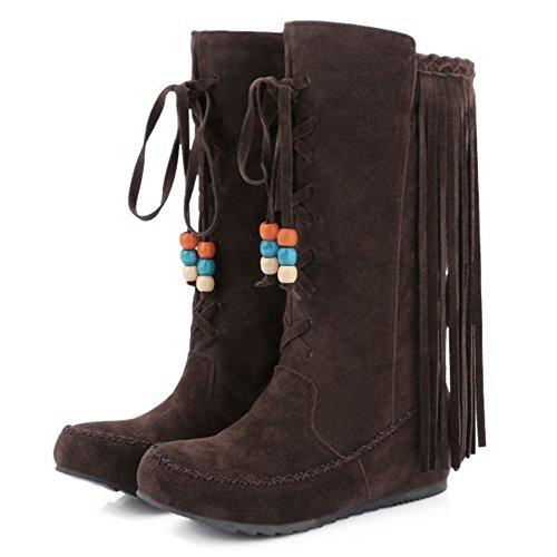 Boots Mid COOLCEPT Fringe Classic Mid Damen Winterschuhe Heel Calf Brown Hidden TzTqpw0