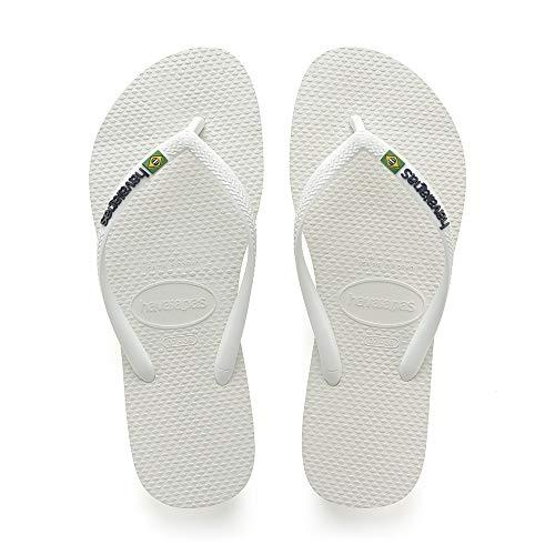 Damen Havaianas Zehentrenner Logo white Weiß Slim Brasil RxxO8qA