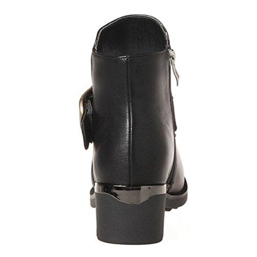 Booties Platform Martin Ankle Zipper Low Boots QZUnique Round Buckle Toe Women Chunky Heel Black S6F8q