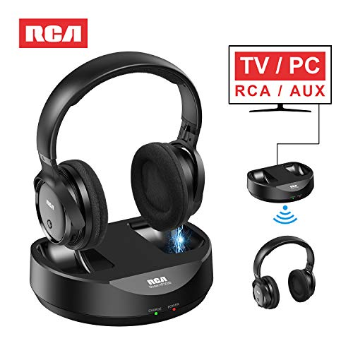 RCA Wireless TV Headphones, Over Ear Headphones for TV Watching, PC Phone MP3 iPod VCD DVD, Headphones for Seniors Hard of Hearing, 148ft/45M Range, Rechargeable and Adjustable