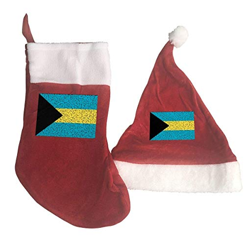 The Bahamas Flag Puzzle Santa Hat & Christmas Stocking Holiday Christmas Decorations Party Accessory -