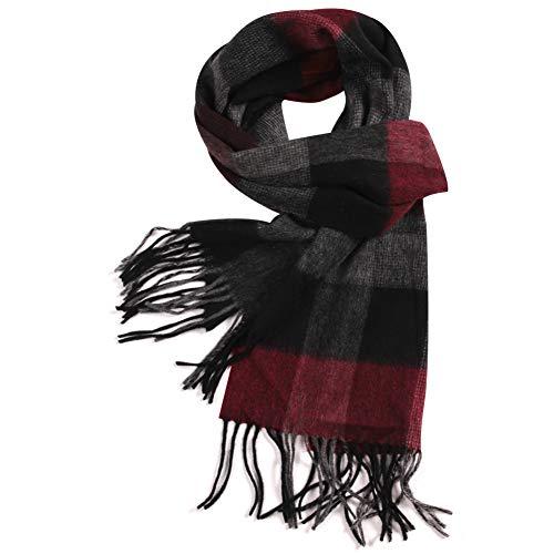 Wool Scarf Men, WAMSOFT Fashion Red Scarf Men Women Shawl Luxurious Cashmere Feel Winter Plaid Wool Scarves Scarf Plaid Scarf Warm Shawl(1 Pack-Red&Grey Plaid)