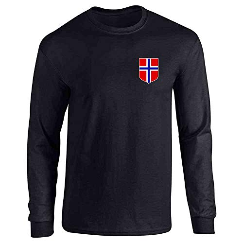 Norway Soccer Retro National Team Jersey Black XL Long Sleeve T-Shirt ()