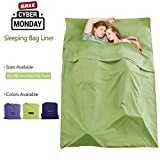 Make you perfect Sleeping Bag Liner Cotton Camping Travel Sheets for Hotels Lightweight Compact Sleeping Sack Sheet for Backpacking,Outdoor,Picnic,Hiking(Green, 63x82.7inch)