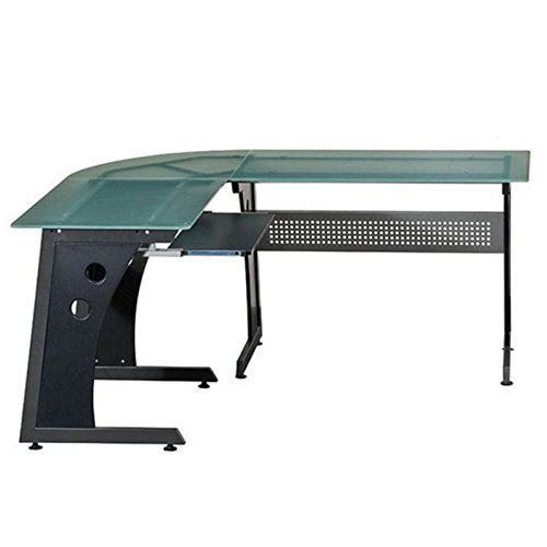 Urban Designs Deluxe L-Shaped Tempered Frosted Glass Top Computer Desk with Pull Out Keyboard Panel