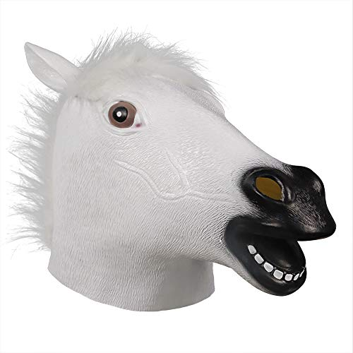 Waylike Horse Head Latex Rubber Toy Animal Head Mask Broncos Fan Full Head Mask for Costume Party and Festivals Brown -