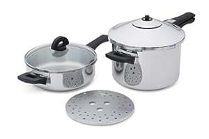 Kuhn Rikon Duromatic Stainless-Steel Pressure Cooker 2pc Set: 2Qt Fry Pan & 5-Qt Saucepan