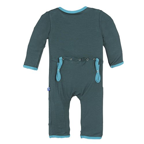 KicKee Pants Little Boys Coverall, Pine with Bay Trim, 12-18 Months