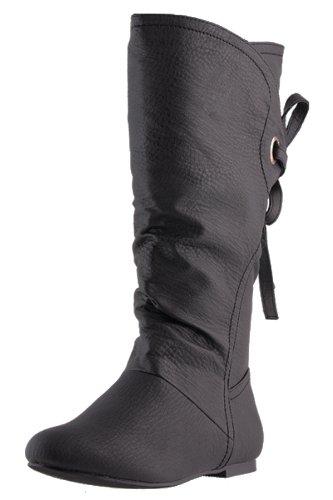 Schwarzer Stiefel mit Schleife im Leder Look (36):