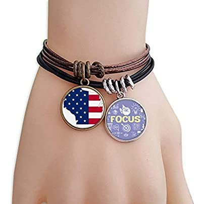 SeeParts Wisconsin America Map Stars Stripes Flag Shape Bracelet Rope Wristband Force Handcrafted Jewelry Estimated Price £9.99 -