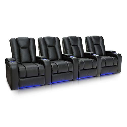 Seatcraft Serenity Leather Home Theater Seating Power Recline with in-Arm Storage, Lighted Cup Holders, and Ambient Base (Row of 4, Black)
