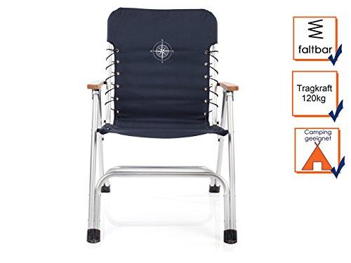 CAMPART TRAVEL Juego de 2 – Estilo Completo, Boot Plegable sillas en Color Azul Marino con reposabrazos de Madera + brújula Aufdruck