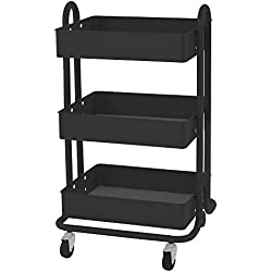 ECR4Kids 3-Tier Steel Rolling Utility Cart - 3 Shelves of Versatile Mobile Storage, Black
