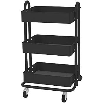 ECR4Kids 3-Tier Steel Rolling Utility Cart - 3 Shelves of Versatile Mobile Storage, Black