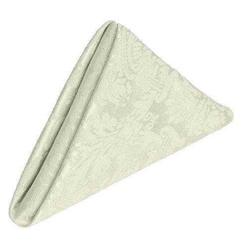 Ultimate Textile -10 Dozen- Saxony 17 x 17-Inch Damask Cloth Napkins- Jacquard Weave Emblem Crest Design, Ivory Cream (Brocade Poly)