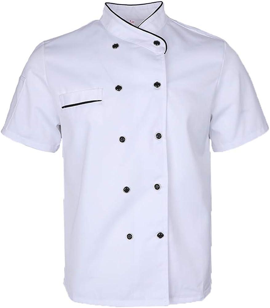 F Fityle Unisex Verano Transpirable Chaqueta De Chef Abrigo De ...