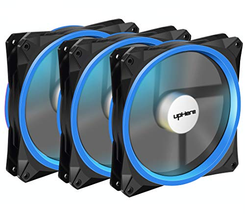 upHere 140mm case Fan 3PACK Solar Eclipse Hydraulic Bearing Quiet Cooling case Fan for Computer Mirage Color LED Fan 3 pin with Anti Vibration Rubber Pads(Blue) 14CMB3-3 ()