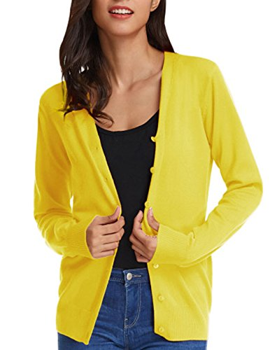 GRACE KARIN Women Button Down V-Neck Long Sleeve Soft Knit Cardigan Sweater (S,Lemon Yellow)