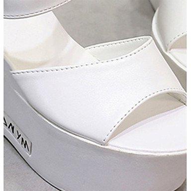 LvYuan Mujer-Tacón Cuña-Confort-Sandalias-Informal-PU-Blanco Plata Silver