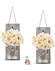 Rustic Grey Mason Jar Sconces for Home Decor, Decorative Chic Hanging Wall Decor Mason Jars with LED Strip Lights, 6-Hour Timer, Silk Hydrangea, & Iron Hooks for Home & Kitchen Decorations [Set of 2]