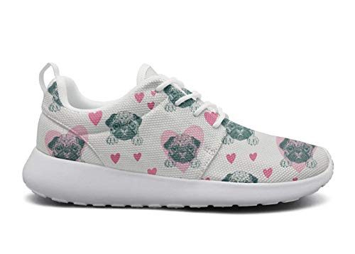 Eoyles gy Happy Pug Fest Poster Attractive Women Slip Resistant Lightweight Running Shoes