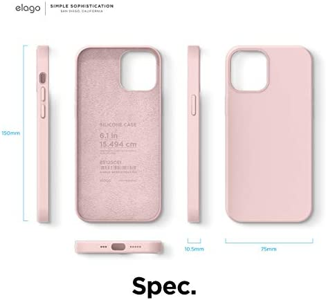 elago Liquid Silicone Case Compatible with iPhone 12 Case and Compatible with iPhone 12 Pro Case (Lovely Pink) - Full Body Protection (Screen & Camera Protection)