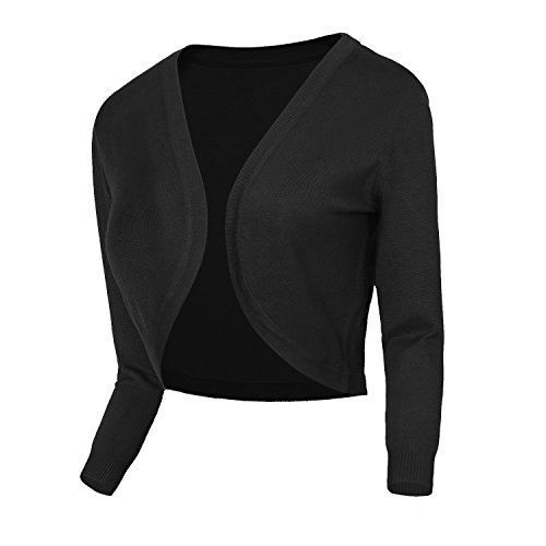 Urban CoCo Women's Cropped Cardigan V-Neck Button Down Knitted Sweater 3/4 Sleeve (M, 2 Black)
