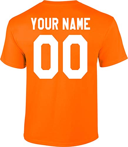 - Custom Jersey_Style Back Short Sleeve T-Shirt (Unisex, Youth/Adult) - Add Your Name and Number Orange