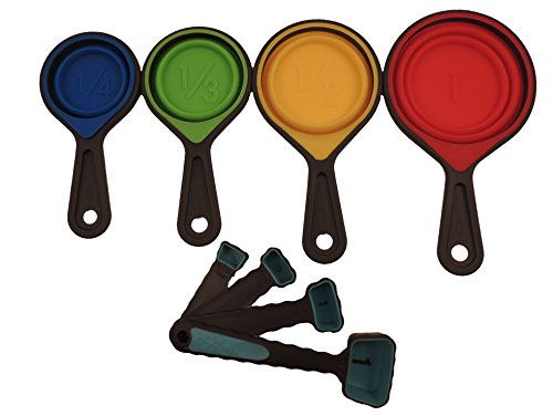 Collapsible Silicone Measuring 8-piece Set Cups and Spoons - Different Sizes Portable Folding Kitchen Utensils