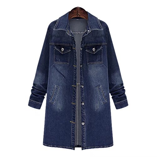 Fitted Denim Jacket - Women's Long Denim Jacket Casual Long Sleeve Loose Trench Coat Outerwear Top Jeans Outercoat Windbreaker X-Large
